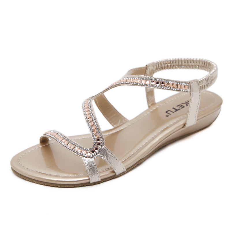 ... about Shoes Women Bohemia Ethnic Flip Flops Crystal beading Soft Flat  Sandals Woman Casual Comfortable Plus Size Wedge Sandals 35 42 on  Aliexpress.com ... e2579701d8b0