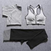 2016 New Women Yoga Sport Suit Bra Set 3 Piece Female Short Sleeved Summer Sportswear Gym