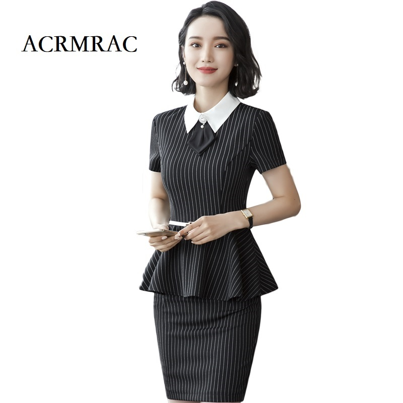 ACRMRAC Women's Suits Summer Suit Short-sleeved Suit Stripe Slim Turn-down Collar Jacket Pants Business OL Formal Pants Suits
