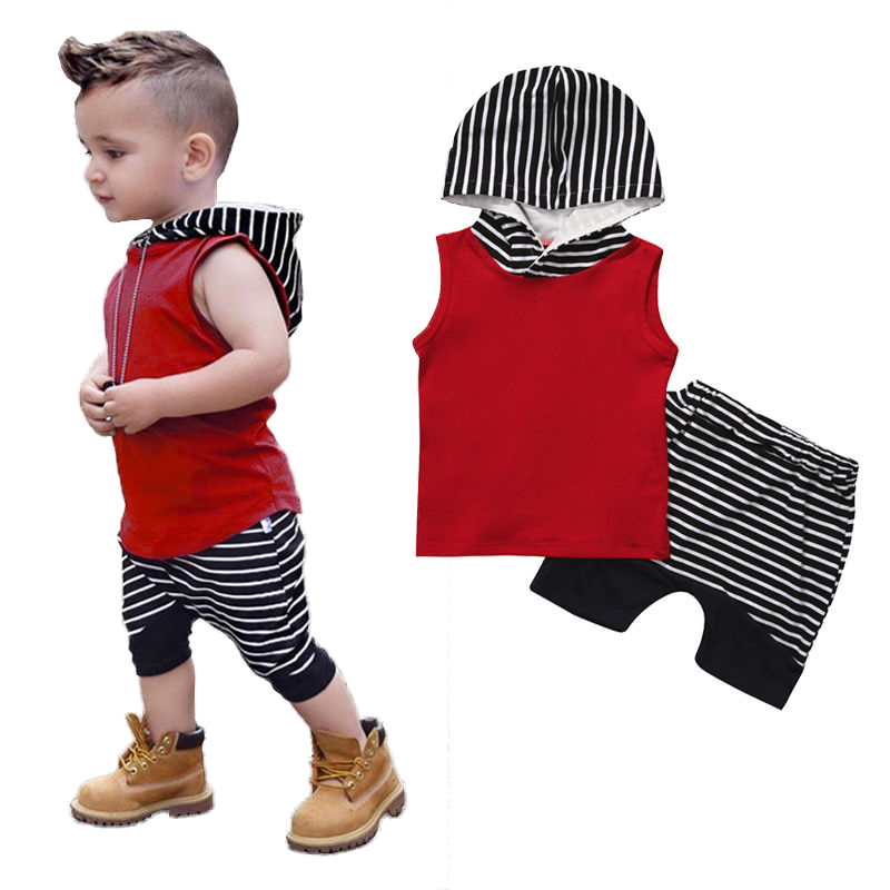 2017 Babies kids Stripes Casual Hooded Clothing Set Summer Infant Baby Boy Kid Outfits Clothes Hoodie Vest Tops+Pants 2pcs Sets three colors kid baby unisex clothes set kids mini summer children handsome boy avatar vest clothing regular fille sleeveless
