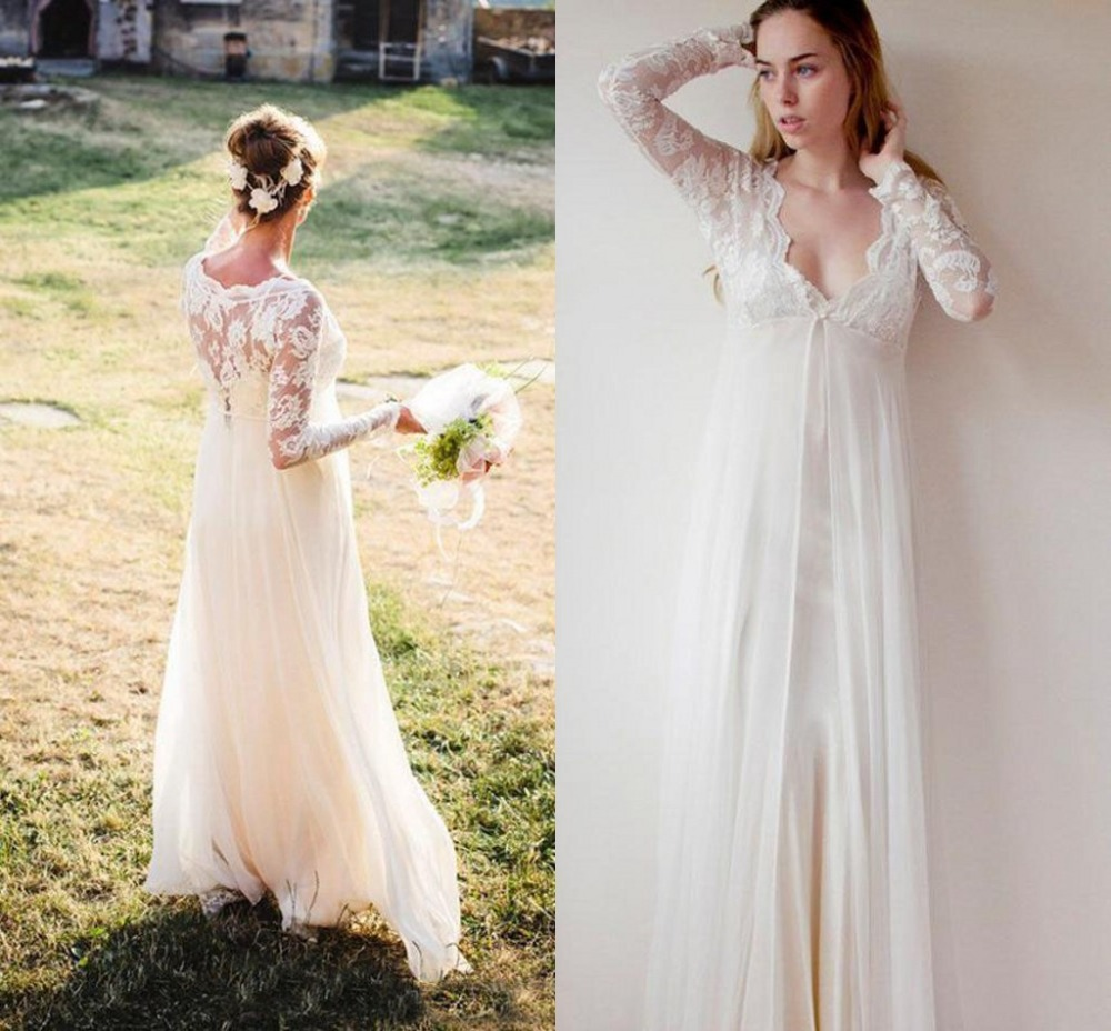 Graceful Empire Waist Pregnant Wedding Dresses Long Sleeve Lace And Chiffon V Neck Cheap Country Maternity Bridal Gowns