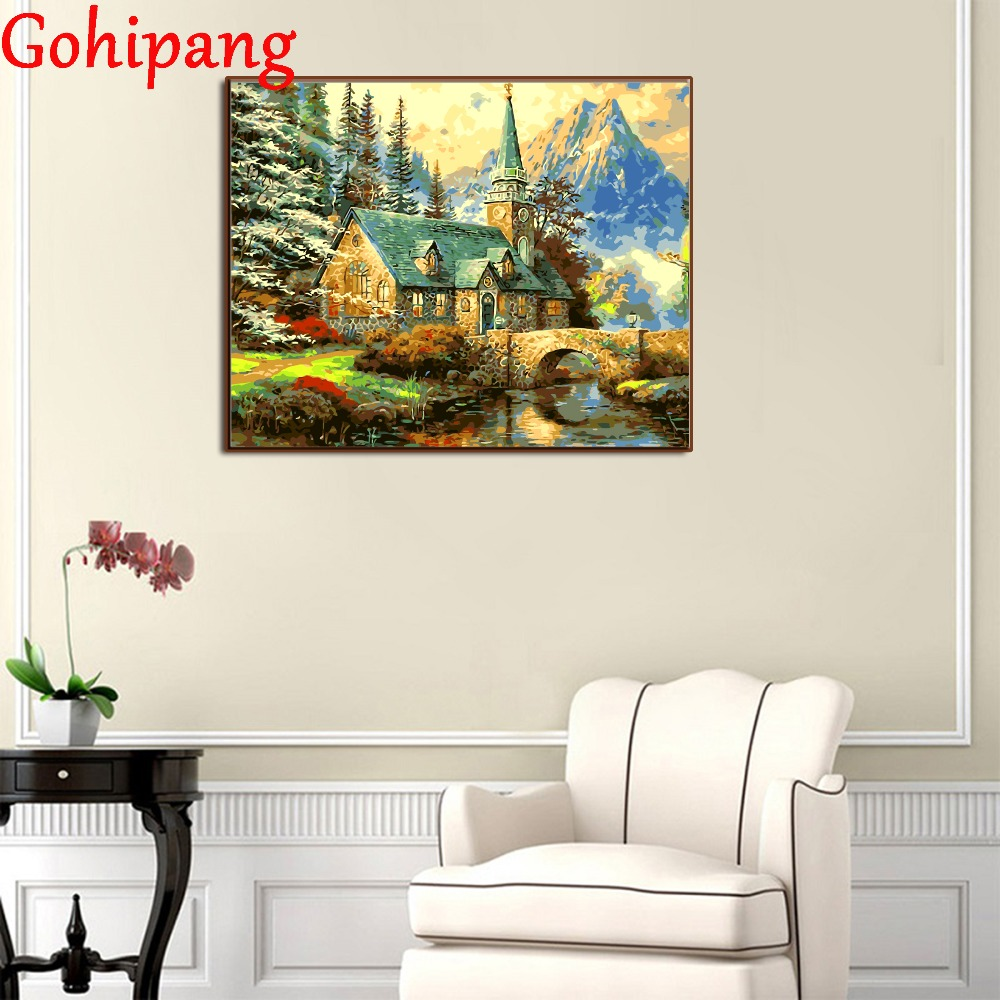 Digital Oil Painting By Numbers Landscape Wall Decor River House Scenery Picture On Canv ...