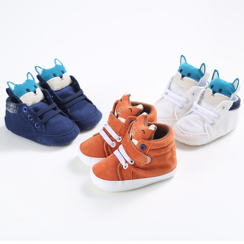 LANSHITINA Skid-Proof Baby Shoes Soft Cotton Boys Girls Cartoon Fox Infant Shoes Slippers 0-6 6-12 12-18 First Walkers C-215