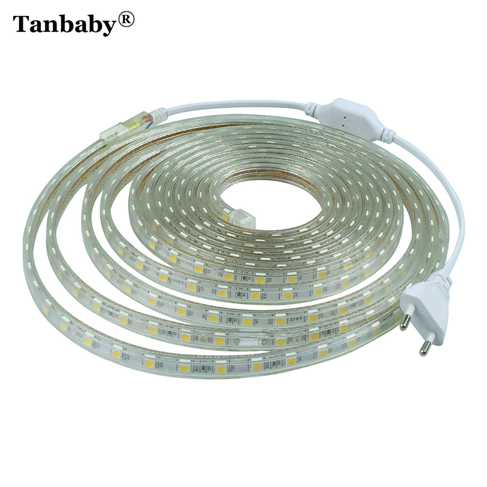 Tanbaby SMD5050 AC220V RGB LED striscia impermeabile flessibile Bar Light 60LED / M 1M ~ 25M con spina EU decorazione del giardino all'aperto