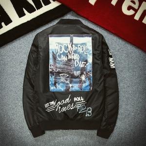 Image 3 - 가을 겨울 Ma1 폭격기 재킷 남자 육군 파일럿 재킷 두꺼운 청소년 펑크 힙합 야구 코트 남성 패션 캐주얼 Streetwear