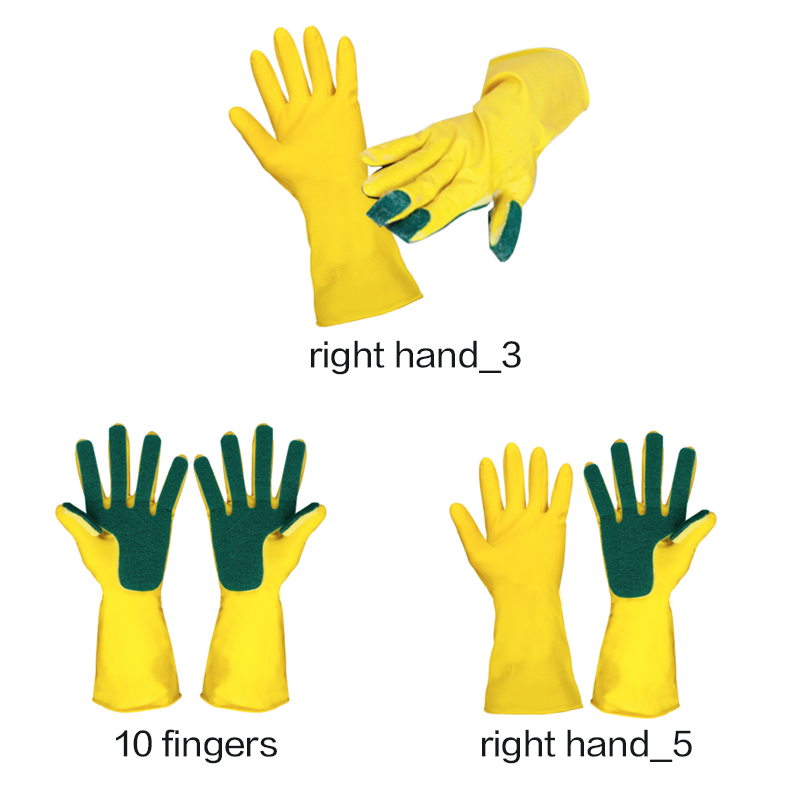 Sponge Fingers Kitchen Cleaning Gloves One Pair Reusable Household Garden Dishwashing Latex Washing Gloves Disposable Tools