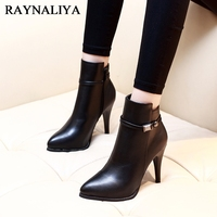 Women Side Zipper Comfortable Square Heel Ankle Boots Fashion Pointed Toe Keep Warm Winter Shoes Black