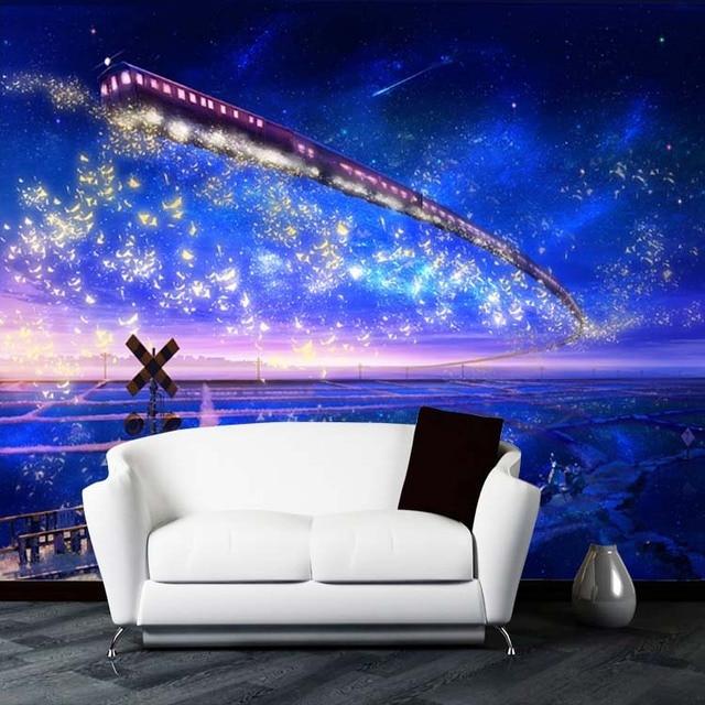 US $20.0  3d cartoon wandbilder für kinderzimmer sternenhimmel blau  muralsTV sofa hintergrund wand zug decke wandbilder wallpaper in 3d cartoon  ...