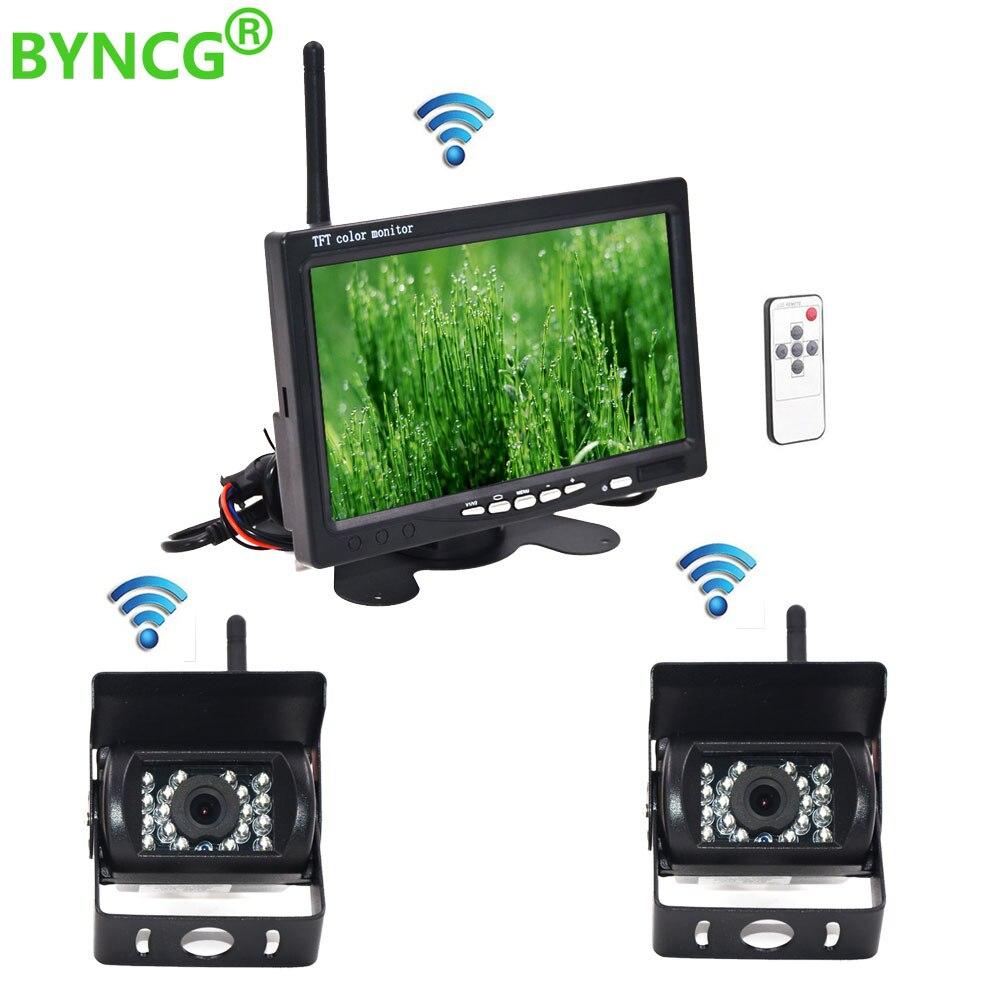 Caméra de recul sans fil et Vision nocturne IR moniteur de voiture 7
