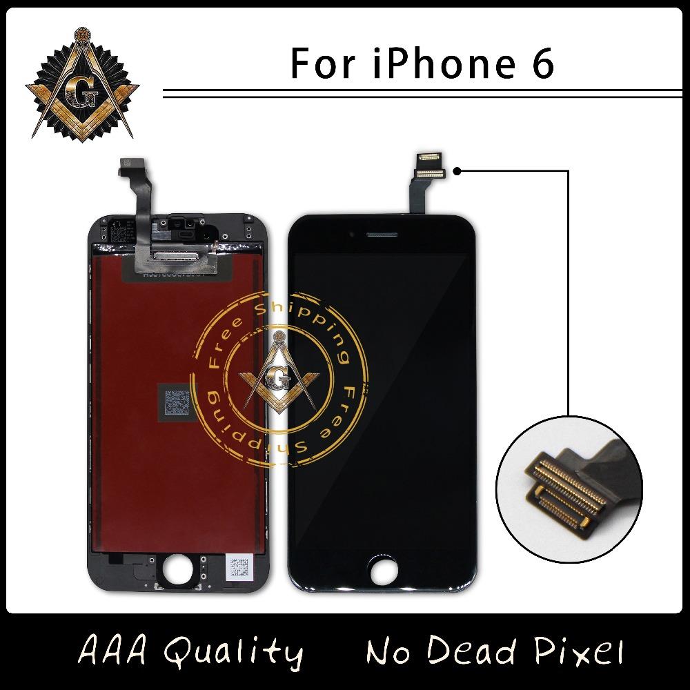 Prix pour 10 pcs/lote Grade A + + + + + LCD assemblée d'affichage avec cadre pour iPhone 6 écran livraison gratuite DHL