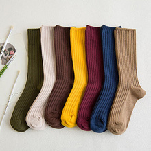 15pairs/pack Harajuku High School Girls Striped Long Stack Socks Loose Solid Double Needle Knitting Cotton Students Socks Women