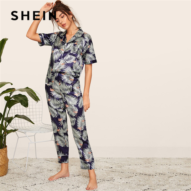 SHEIN Print Satin Spring Summer   Pajamas   Women Clothes 2019 Short Sleeve Long Pants Sleepwear Casual Pocket Ladies   Pajama     Set