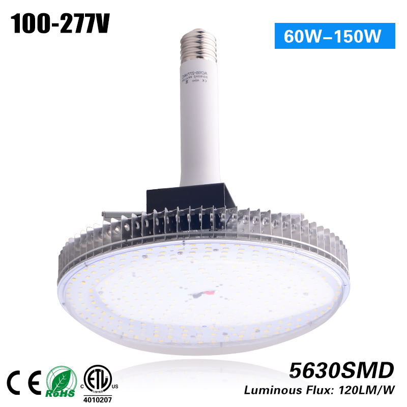 Freeshipping  E40 150w LED High Bay Light samsung 5630SMD chips and meanwell driver 5 years warranty CE ROHS ETL waterproof ip65 lamp 5 years warranty 150lm w 60w 100w 150w 200w 250w factory workshop mining supermarket led high bay light