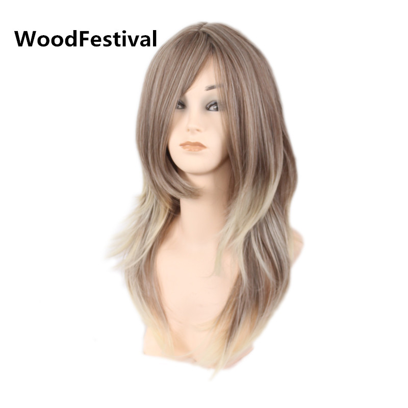 WoodFestival women wig long straight hair brown black blonde mixed color heat resistant synthetic wigs