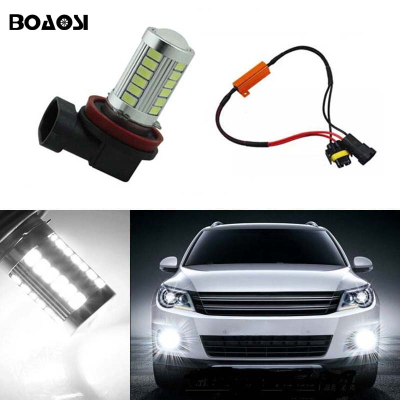 BOAOSI 1x H11 H8 LED canbus Bulbs Reflector Mirror Design For Fog Lights No Error For Audi A3 A4 A5 S5 A6 Q5 Q7 TT boaosi 2x h11 led canbus 5630 33 smd bulbs reflector mirror design for fog lights for honda civic fit accord crider crv