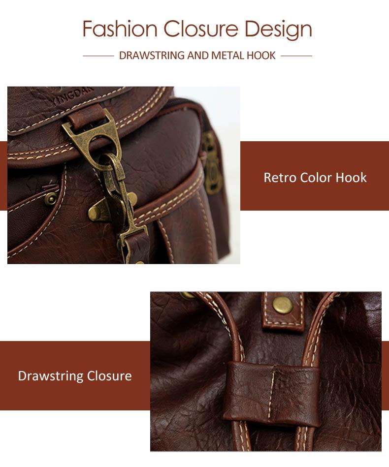 HTB1jXOKbiYrK1Rjy0Fdq6ACvVXaT Vintage Women Backpack for Teenage Girls School Bags Large Drawstring Backpacks High Quality PU Leather Black Brown Bag XA658H