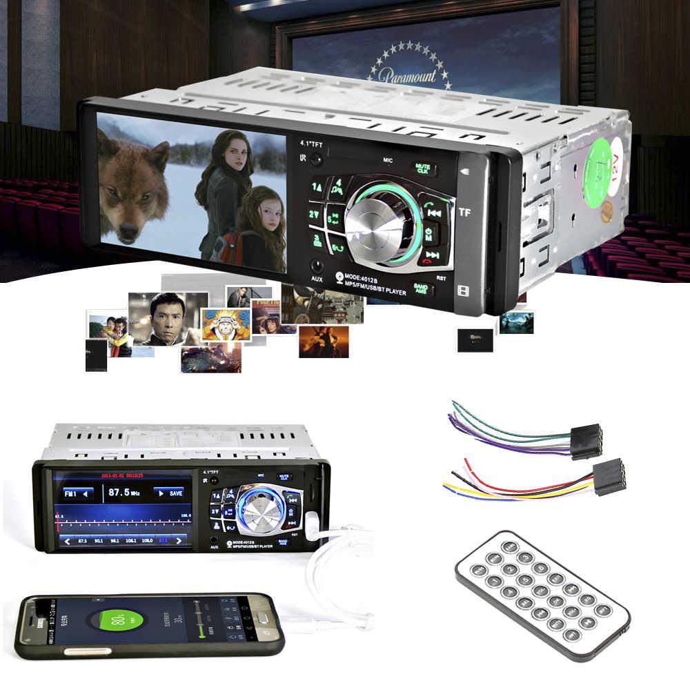4,1 pulgadas Automagnitola 1 Din coche Radio MP5 jugador Auto Audio FM BT 2,0 con cámara de visión trasera USB dirección rueda de Control remoto