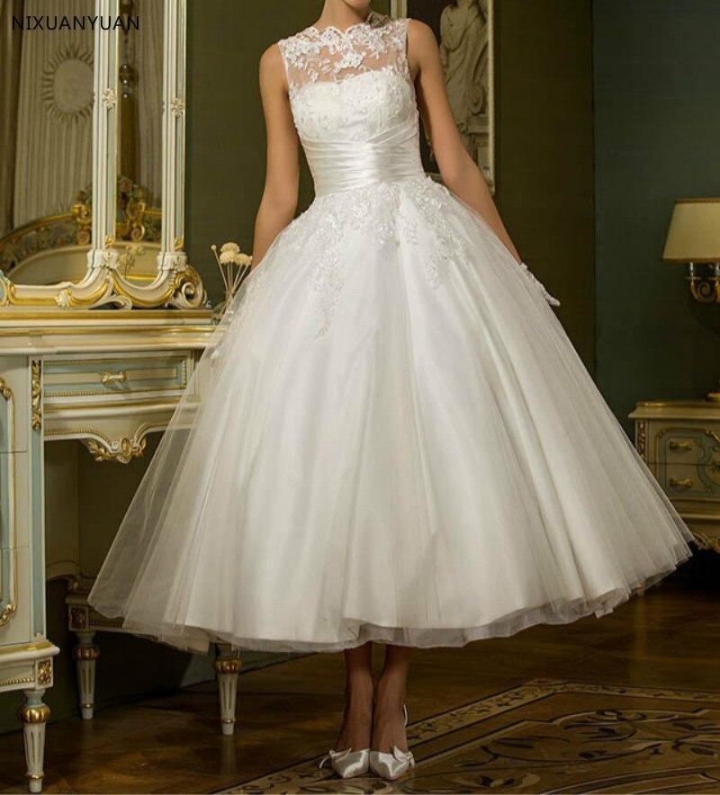 Vintage White Sleeveless Short Wedding Dress Women Bridal Dresses Tea Length Retro Dotted Wedding Gown 2019