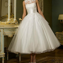 Vintage blanco corto sin mangas vestido de boda de las mujeres de vestido para té, longitud Retro puntos vestido de boda 2020