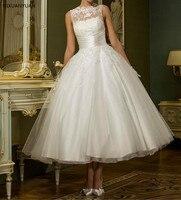 Vintage White Sleeveless Short Wedding Dress Women Bridal Dresses Tea Length Retro Dotted Wedding Gown 2020