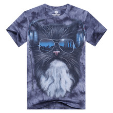 2016 New Summer 3D Print Men T Shirt Short Sleeve Women Fashion Funny Brand Cotton Cats Animals Male O Neck Tops XXL CD1319