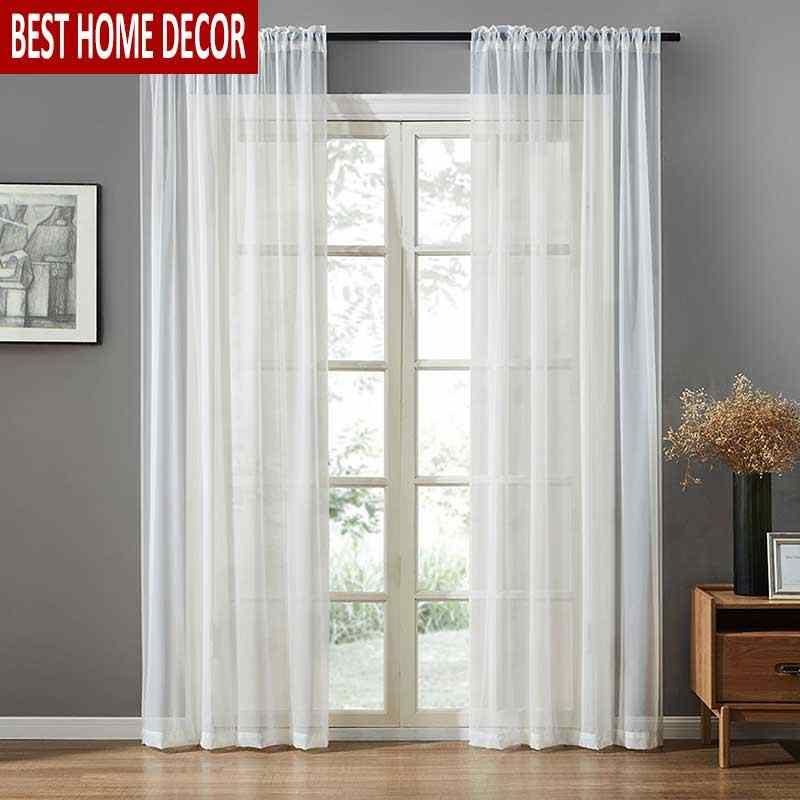BHD Solido Tulle Sheer Tende Della Finestra per soggiorno Camera Da Letto Moderna Tende di Tulle Tessuto per la Cucina Voile Tende