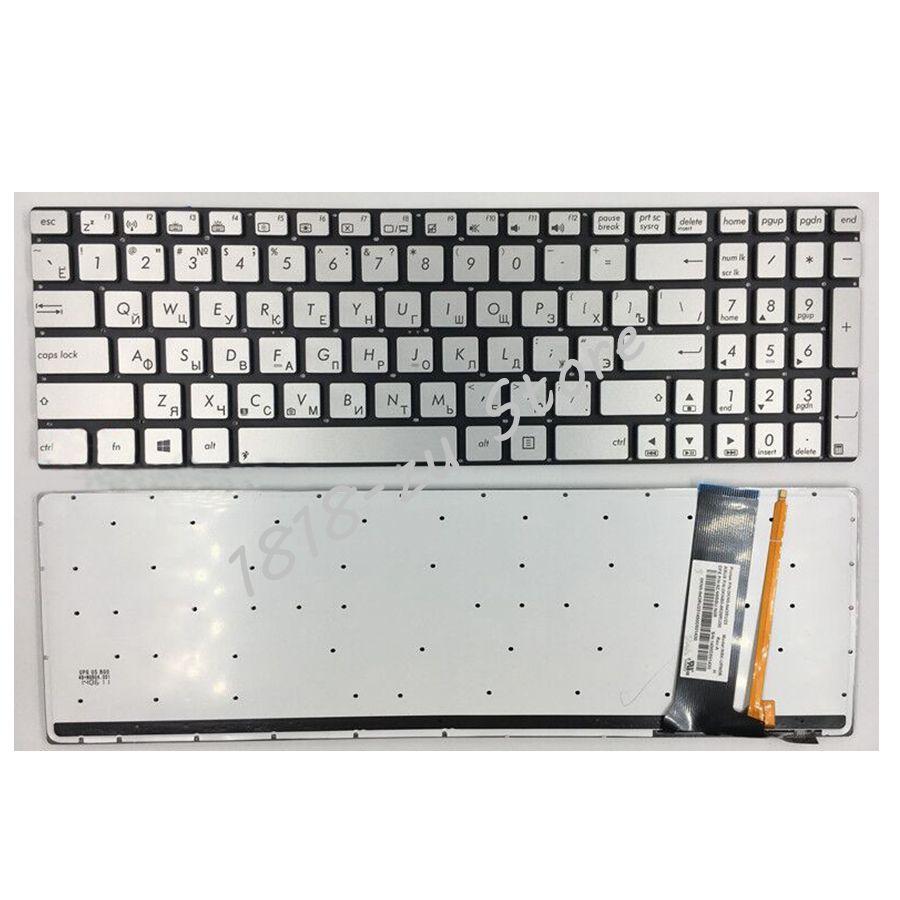 YALUZU Laptop keyboard for ASUS N56 N56V U500VZ N76 R500V R505 N550 N750 Q550 RU Russian layout silver with backlit цена