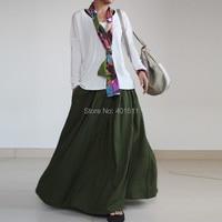s0063 женщины в яркость зеленый цвет обычный заказ лён длинная юбка