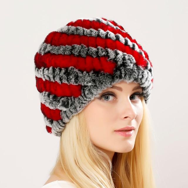Luxury Autumn Winter Women's Genuine Real Knitted Rex Rabbit Fur Hats Handmade Lady Warm Caps Female Beanies Headgear