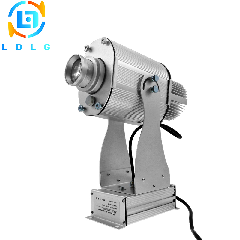 Low Price Fast Shipping IP65 Waterproof Silver 20W LED Rotating Image Gobo Projector 110V 220V 1700lm Outdoor LED Gobo Projector company logo advertising silver 20w led rotating image gobo projector 110v 220v 1700lm indoor outdoor led custom gobo projector