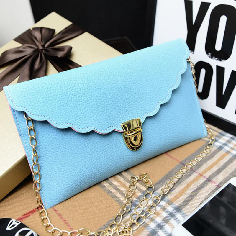 цены  2017 calloped edges envelope clutch bag lady shoulder bags with chain women day clutches purse bolsa feminina sac a main