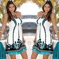 Tittok Лето dress женщины 2017 dress with print пляж платья Без Рукавов sexy цветочные печати макси платья выше колена T092