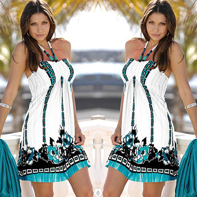Tittok Summer dress women 2017 dress with print beach dresses Sleeveless sexy floral print maxi dresses above knee T092