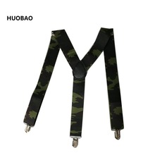 цена на 2017 New Men Adjustable 3.5cm Wide Heavy Duty Y-Back Camouflage Suspenders For Mens