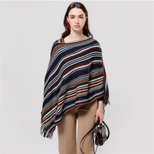 2019 new women scarf fashion knitted lady poncho and caps striped thick warm winter pashmina bandana female ponchos