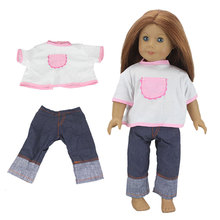 2pcs In 1,Shirt + Jeans Suit For American Girl Doll 18 Inch