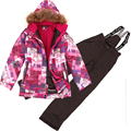 Russian Winter Children Clothing Sets Windproof Outdoor Girls Ski Jacket+Bib Pants 2pcs Set Girls Ski Suit 7-16Years