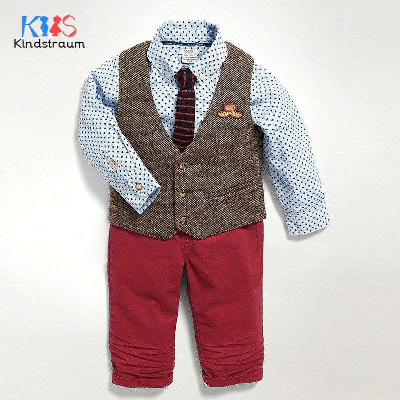 Kindstraum 3pcs Baby Boys Wedding Suits Solid Vest+Dot Shirt+Pant Kids Gentleman Clothing Sets Children Formal Suits, MC947 boys clothing set striped vest pant shirt suits formal outfits kids school uniform baby children wedding party boy clothes sets