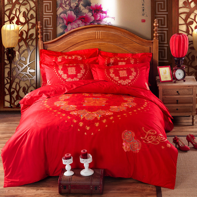 Chinese Style Wedding Double Happiness Red Bedding Set Queen U0026 King Size  Cotton Duvet Covers Flat