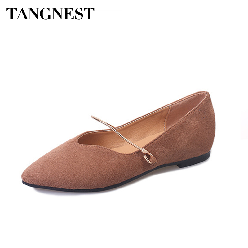 Tangnest 2017 Spring Woman Flock Flats Metal Buckle Strap Pointed Toe Ballet Flats New Fashion Solid Casual Women Shoes XWD5561 2017 womens spring shoes casual flock pointed toe narrow band string bead ballet flats flat shoes cover heel women flats shoes