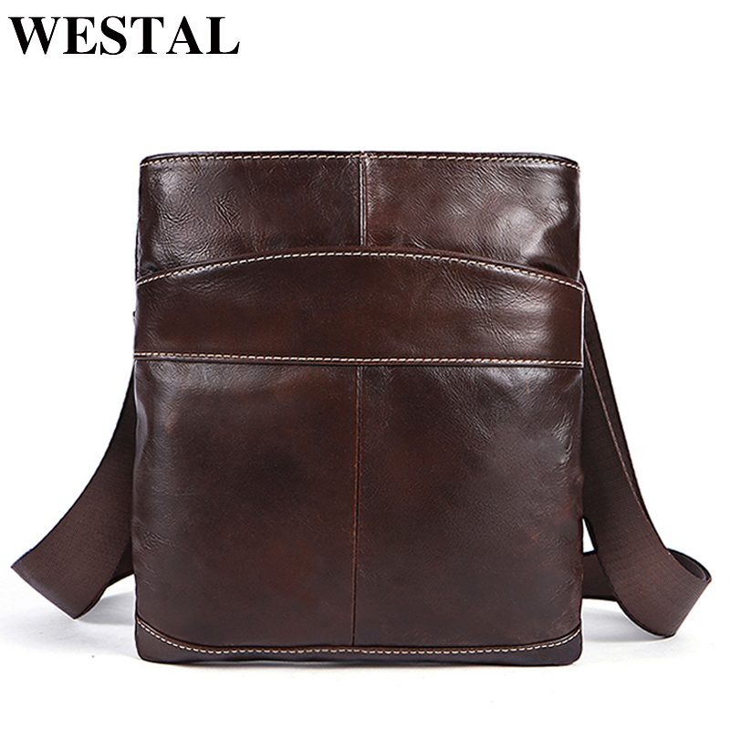 WESTAL Genuine Leather Mens Bag Male Crossbody Bags Small Flap Casual Messenger Bags Men's Shoulder Bag Male Genuine Leather 703