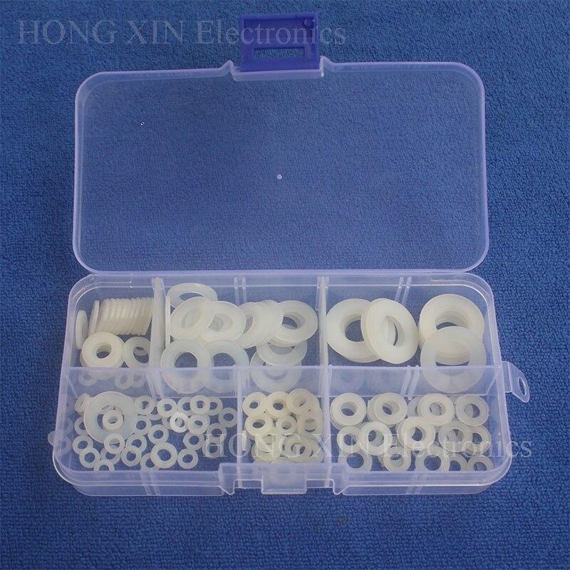 150pcs White Nylon Washer Plastic Washer RingFastener M3/M4/M5/M6/M8/M10 Assortment kit O Ring Sicilone Gasket Washer 150pcs m3 white hex spacers nylon screw nut washer assortment standoff kit stand off plastic