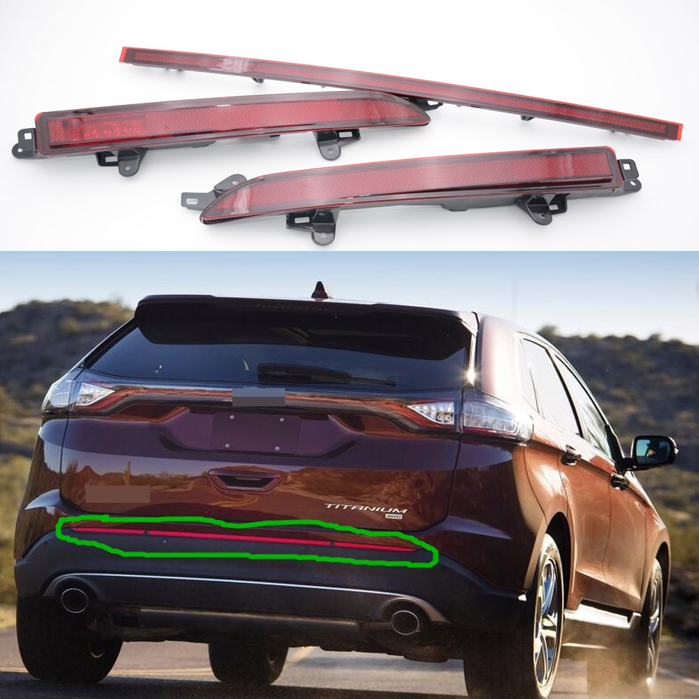 1Set/3Pcs Red tail rear fog light lamps rear bumper reflector lights LH+Middle+RH for Ford Edge 2015-2016 1pair lh rh side oem red tail rear bumper fog lights lamps for mazda 5 2008