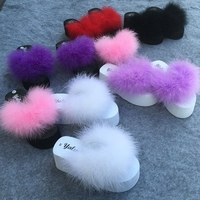 Hot Fur Slides Women Ostrich Sandals With Feathers Female Sweet Sandals Beach Shoes Summer Pantufa Fashion Sliders Flip Flops