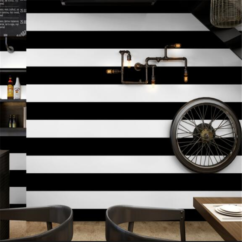 Us 2697 29 Offbeibehang Black And White Vertical And Horizontal Stripes Wallpaper Modern Living Room Coffee Clothing Shop Background Wallpaper In