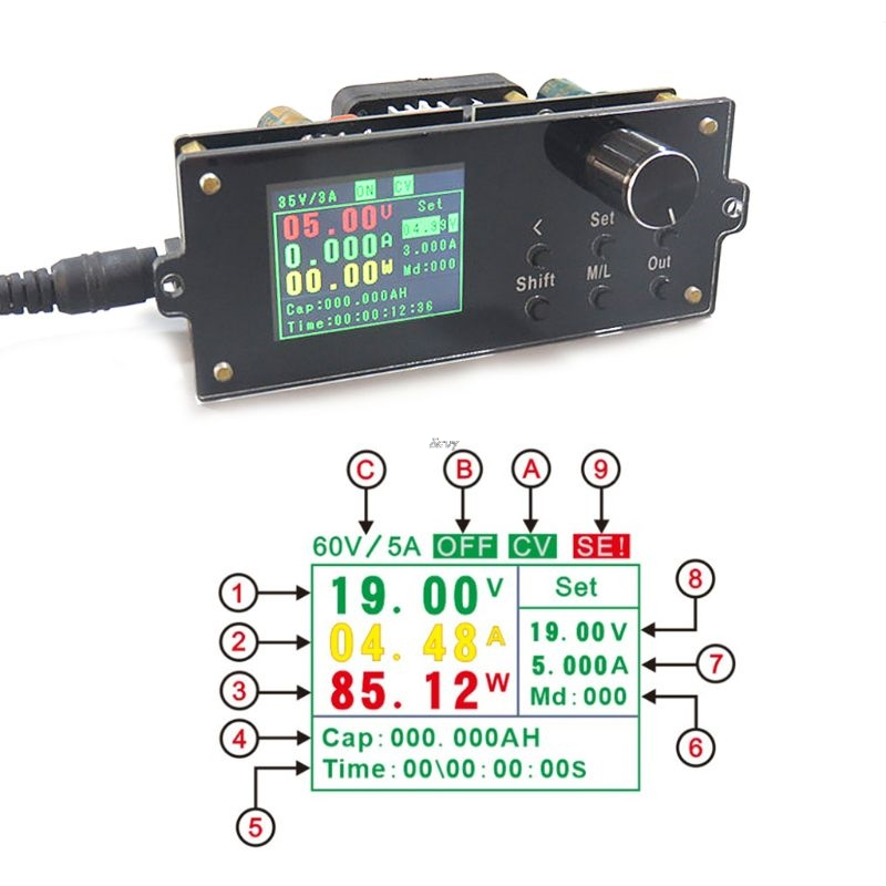 DPX6005S Adjustable Voltage Power Supply Buck Module With 1 8 LCD Display