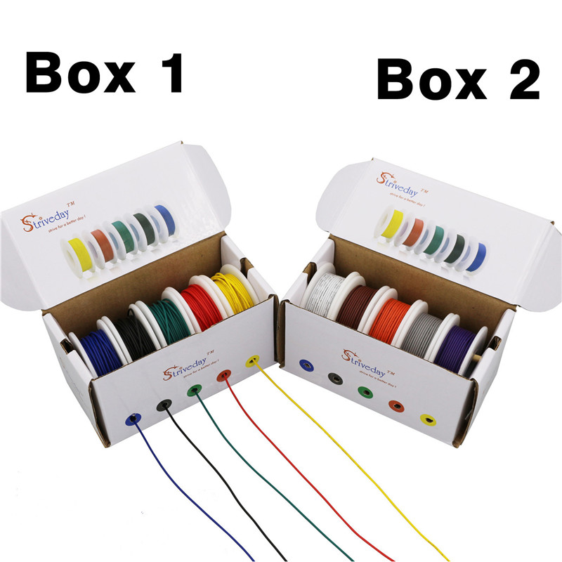 UL 1007 18 20 22 24 25 <font><b>28awg</b></font> <font><b>Cable</b></font> Line PCB Wire 5 color Mix kit box1 box 2 package Electrical Wire Copper Line DIY image