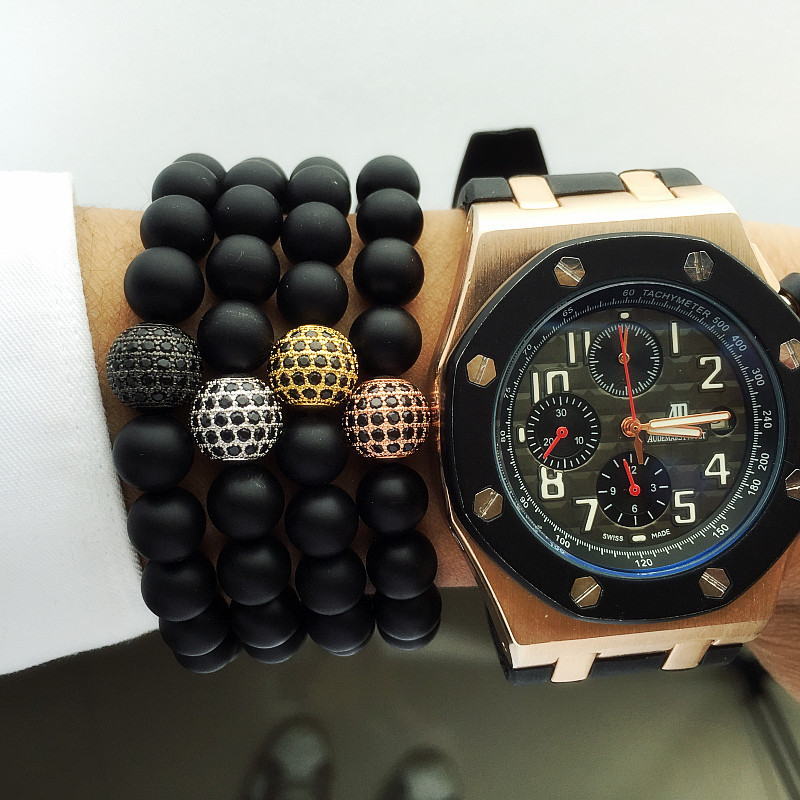 Lucky Gem 2016 New Fashion Natural Black Mantra Prayer Agate Beads Buddha Bracelet for Women and