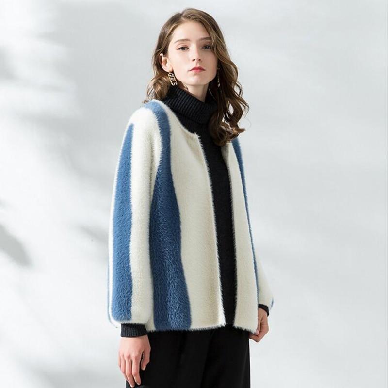 Azul El Nuevo Mujer Beige Visón De Que Abrigo Redondo Champagne R6cWF1T5nO
