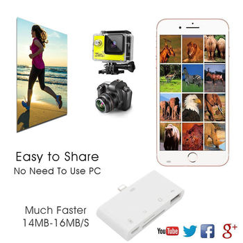 4 in 1 TF SD Card Reader Camera USB OTG Adapter Charger for iPhone X/XS/XR/XS Max/8/8 Plus/7/7 Plus